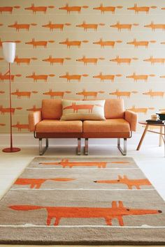 The Scion Mr Fox Rug features a playful fox design. These Scion Rugs are adapted from the legendary Scion Mr Fox motif - so you can get matching wallpaper and fabrics. Room Rugs, Rugs In Living Room, Scion Mr Fox, Scion Fabric, Casa Retro, Synthetic Rugs, Interior S, Modern Rugs, Interiores Design