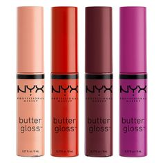 NYX Professional Makeup Butter Gloss is soft, never sticky, super shiny lip gloss delivering sheer to medium glossy shine in tons of gloss shades! Raspberry Pavlova, Nyx Butter Gloss, Best Drugstore Makeup, Dupe Makeup, Eyeshadow Dupes, Lipstick Dupes, Top Makeup Artists, Exfoliating Scrub, Soft Lips