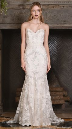 claire pettibone fall 2017 bridal strapless sweetheart neckline full embellishment vintage art nouveau elegant mermaid wedding dress sweep train (celeste) mv