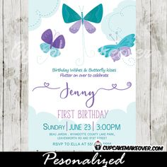 Charming Butterfly party invitations featuring fluttering butterflies in purple and teal against a white backdrop with soft puffy pale blue clouds. #cupcakemakeover