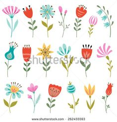 Discover this and millions of other royalty-free stock photos, illustrations, and vectors in the Shutterstock collection. Thousands of new, high-quality images added every day. Flower Art Drawing, Wreath Drawing, Floral Drawing, Simple Flower Painting, Colorful Flowers, Spring Flowers, Simple Flowers, Vector Flowers, Easy Watercolor
