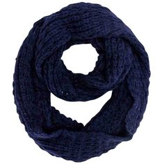 Dark Navy Blue Mohair Heavy Knit Loop Infinity Ring Scarf (23 CAD) ❤ liked on Polyvore featuring accessories, scarves, heavy, navy blue, navy shawl, loop scarves, knit shawl, long shawl and oblong scarves