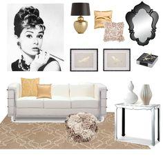 'Simple Elegance' - Back, White, Beige & Gold Colors, Living Room