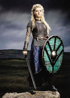 Shieldmaiden Lagertha (Vikings).   A Shieldmaiden was a woman who had chosen to fight as a warrior in Scandinavian folklore and mythology. They are often mentioned in sagas such as Hervarar saga and in Gesta Danorum. Shieldmaidens also appear in stories of other Germanic nations: Goths, Cimbri, and Marcomanni.The mythical Valkyries may have been based on the shieldmaidens.