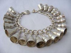 1930's  Mexican Silver Charm Bracelet w/ 22 Bells