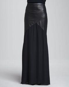 Alice + Olivia - Cheyleigh Leather-Top Maxi Skirt | Hukkster