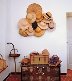 collection of straw hats