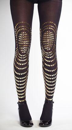 Zwarte panty met gouden print