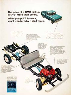 1966 GMC Pickup Truck original vintage advertisement. Equipped with the V-6 170 h.p. engine and only $49 more than comparable models.