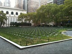 Bryant Park in NYC on the 10th anniversary of 9/11...an empty chair for every victim.