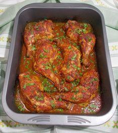 Pulpe de pui la cuptor in sos de rosii si usturoi - Bunătăți din bucătăria Gicuței Romanian Food, Tandoori Chicken, Food And Drink, Ethnic Recipes, Chicken, Food Planner, Salads