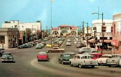 Looking west on Pier Ave @ Hermosa Ave. Hermosa Beach, CA Beach Photos, Old Photos, Vintage Photos, Redondo Beach Pier, California History, Southern California, Family Vacation Spots, Hermosa Beach, Pacific Coast Highway