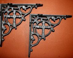 2) Religious Shelf brackets, cross shelf brackets, cross decor, religious decor, corbels, free shipping, cast iron, Christian, B-26 by wepeddlemetal. Explore more products on http://wepeddlemetal.etsy.com