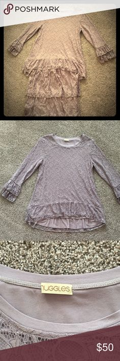 💗Nuggles Gray Lace Ruffle Outfit Size S💗 This is a really nice outfit. Only been worn twice. It's in Excellent condition. Top is flowy and Size S. Skirt is elastic waist and size S. Smoke free home! Nuggles Skirts A-Line or Full