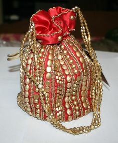 Decorative Beaded Potli Bag Wedding Women Clutch Handmade Ethnic Red Handbag | eBay