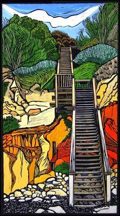 Gail Kellett ~ Coastal Walkway (linocut) Hamilton: My Kind of City Linocut Prints, Art Prints, Block Prints, Australian Art, Gravure, Woodblock Print, Illustration Art, Fine Art, Artwork