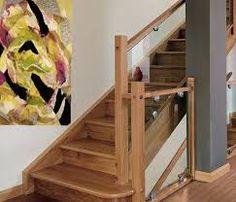 Baranda de vidrio laminado con parantes de seccion for Escalera madera portatil