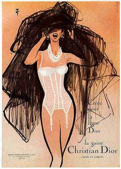 Illustration by René Gruau, La gaine Christian Dior, L'Officiel (Wait a sec. There is an illustration he did, just like this, except the lingerie was different. Dior Vintage, Lingerie Vintage, Mode Vintage, Vintage Vogue, Vintage Fashion, French Lingerie, Vintage Perfume, French Fashion, Miss Dior