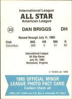 1985 TCMA International League All-Stars #33 Dan Briggs Back