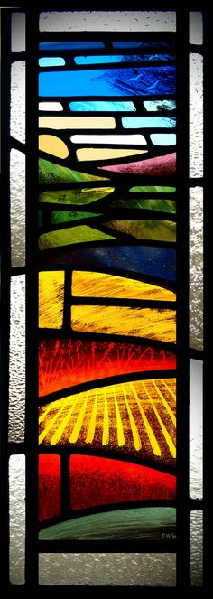 stained glass landscape by stephen-weir, Like the block colours and how it gets darker in places Stained Glass Quilt, Stained Glass Door, Stained Glass Designs, Stained Glass Projects, Stained Glass Patterns, Leaded Glass, Mosaic Glass, Modern Stained Glass Panels, Stained Glass Window Film