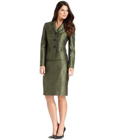 Le Suit Skirt Suit, Metallic Snake-Print Jacket & Skirt - Suits & Suit Separates - Women - Macy's