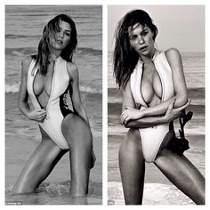Abbey Clancy in a zip front swimsuit by O'Neill.