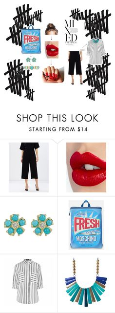 Hashtag by hacii on Polyvore featuring moda, Ally Fashion, Oasis, Moschino, Monet, Jennifer Meyer Jewelry, Charlotte Tilbury, red, blackandwhite and fresh