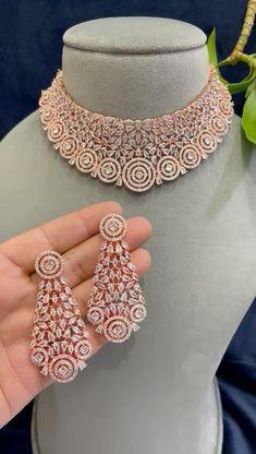 Gold Bridal Jewellery Sets, Rose Gold Wedding Jewelry, American Diamond Jewellery, Diamond Jewelry, Gold Jewelry, Rose Gold Choker Necklace, Bridal Necklace Set, Nimrat Khaira, Indian Earrings
