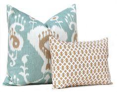 Decorative Throw Pillow Covers  Set of Two  by FestiveHomeDecor Java Spa Ikat Waverly Ellis Hemp $33.00