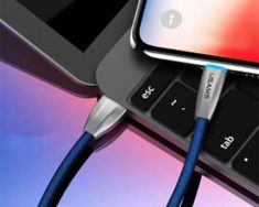 Odolný lightning nabíjací kábel s LED osvetlením, 120cm, textilný v modrej farbe Ios Apple, Apple Iphone, Apple Watch, Ipad