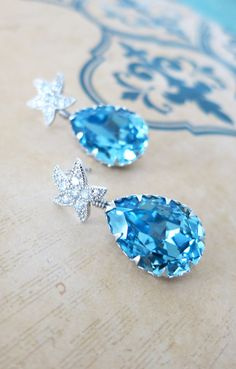 Cubic Zirconia Starfish Earrings Swarovski Aquamarine blue Crystal Teardrop, Bridal Beach Wedding Bridesmaid Earrings, Silver, by GlitzAndLove on Etsy