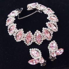 "Signed WEISS Vtg 7"" Bracelet & Clip Earrings SET Pink Rhinestone GORGEOUS! I201"