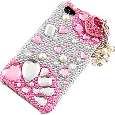 #Rhinestones Protector Case #iPhone 4 & 4S, 3D Pink Romance Full Diamond $19.99 From #DayDeal