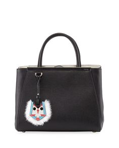 2Jours Petit Monster-Charm Shopping Tote Bag, Black by Fendi at Neiman Marcus.