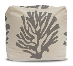 Pouf and Cover Gray Coral Cotton Duck Natural - Choose Large or Small Size