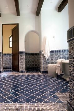Spanish style cooking areas are stunning and inviting. In some cases referred to as Spanish revival cooking areas, these areas are filled with traditional interior design aspects, warm abundant details, dark wood cabinets and painted tile work. Spanish Bathroom, Spanish Style Bathrooms, Mediterranean Bathroom, Spanish Tile, Mediterranean Home Decor, Spanish Style Kitchens, Moroccan Bathroom, Moroccan Tiles, Spanish Revival
