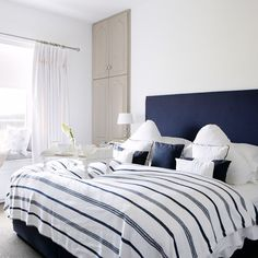 Navy and white bedroom | Country decorating ideas | Country Homes & Interiors | Housetohome
