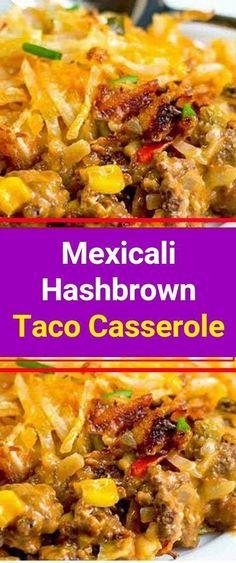 Mexicali Hashbrown Taco Casserole #hamburgermeatrecipes Casserole Taco, Hashbrown Breakfast Casserole, Mexican Casserole, Casserole Dishes, Breakfast Potatoes, Ground Beef Casserole, Hashbrown Hamburger Casserole, Beef Casserole Recipes, Breakfast Tacos