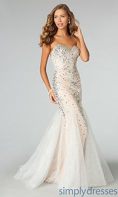 JVN by Jovani Floor Length Strapless Sweetheart Sequin Dress at SimplyDresses.com