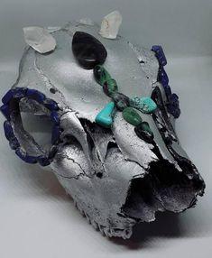 Genuine Rocky Mountain Cougar Skull with Quartz, Lapis Lazuli, Labradorite, turquoise and flourite Handmade Items, Handmade Gifts, Lapis Lazuli, Labradorite, My Etsy Shop, Skull, Quartz, Turquoise, Jewels