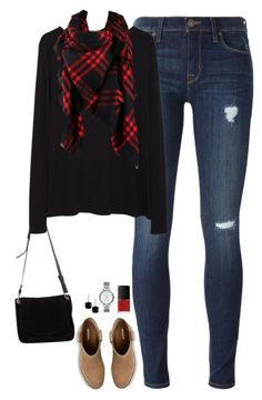 """""""Red & Black"""" by steffiestaffie ❤ liked on Polyvore featuring Hudson, Proenza Schouler, Merona, La Garçonne Moderne, Argento Vivo, FOSSIL and NARS Cosmetics"""