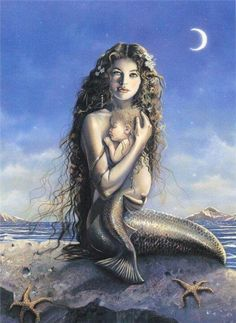 Fairy and fantasy art images, fairy pictures & drawings, flower and butterfly illustrations from Fairies World. Fairies World, Fairy & Fantasy Art Gallery - David Delamare/Mermaid_and_ChildII© Fantasy Creatures, Mythical Creatures, Sea Creatures, Real Mermaids, Mermaids And Mermen, Pretty Mermaids, Mermaid Photos, Mermaid Fairy, Mermaid Tile