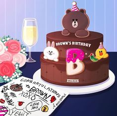 BROWN PIC is where you can find all the character GIFs, pics and free wallpapers of LINE friends. Come and meet Brown, Cony, Choco, Sally and other friends! Friend Birthday, Happy Birthday, Birthday Cake, Cony Brown, Brown Brown, Friends Cake, Bunny And Bear, Lines Wallpaper, Birthday Wishes Quotes