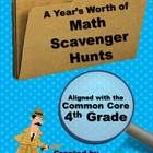 13 Math Scavenger Hunts for the 4th grade Common Core including: rounding, multiplication, division, fractions, decimals, and geometry. Can also be used as task cards! $ #commoncore #scavengerhunts #taskcards