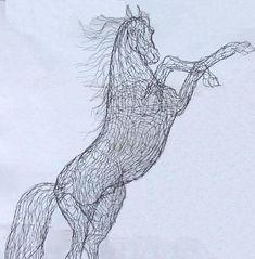 """Wild Spirit"" is a 36"" tabletop sculpture -  wire art by Elizabeth Berrien"
