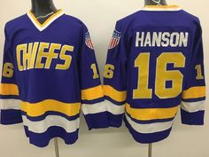 Men s The Movie Mad Hanson Brothers Charlestown Chiefs Jack Hanson stitched  slap shot away Jerseys d90fb78b8