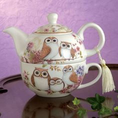 Amazon.com | Bits and Pieces - Tea For One Owls Porcelain Teapot and Cup - Adorable Owl Design: Tea-For-One Sets