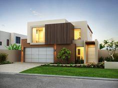 1 Casa Moderna de concreto exterior con balcón e Iluminación Característica - Fachada de casas