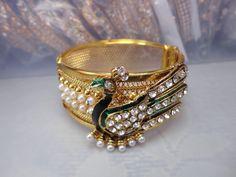 Peacock Bollywood Style Gold Pearl Polki CZ Indian Bridal Bangles Bracelet Kada  #Handmade #Bangle
