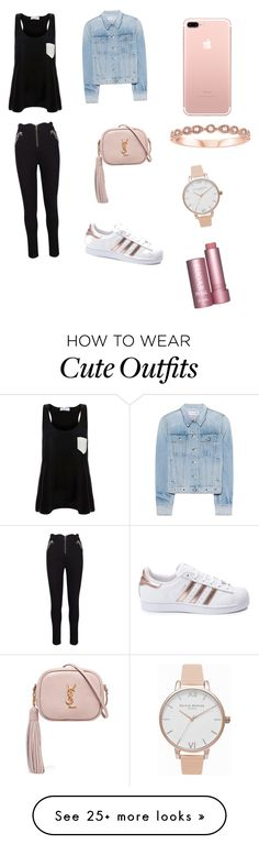 """""""Cute Friday Night Outfit"""" by lsantana13 on Polyvore featuring Solid & Striped, rag & bone, Yves Saint Laurent, adidas and Olivia Burton"""